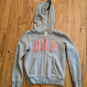 Girl's Large Gap Kids Gray Zippered Hoodie with Pi